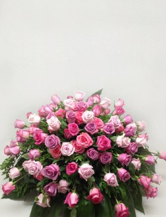 SHADES OF PINK ROSES CASKET SPRAY