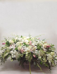 WHITE AND DELICATE PINK CASKET SPRAY