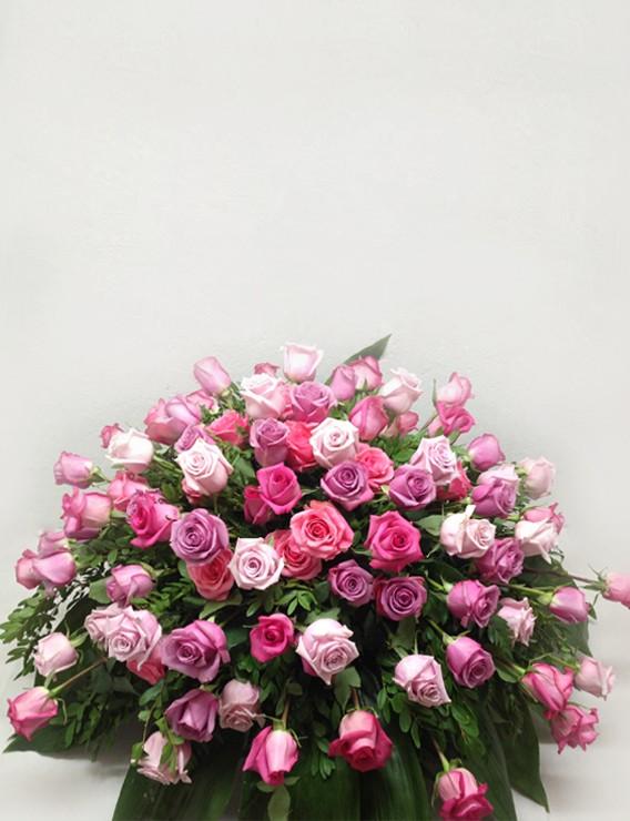 SHADES OF PINK ROSES CASKET SPRAY