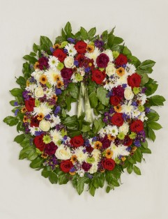RED ROSES WITH MIXED FLOWER WREATH