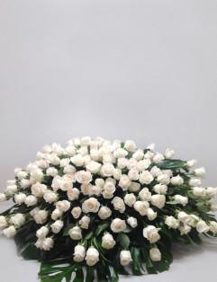 FULL WHITE ROSE CASKET SPRAY