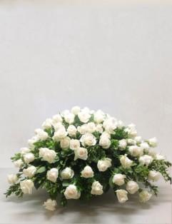 WHITE ROSE CASKET SPRAY